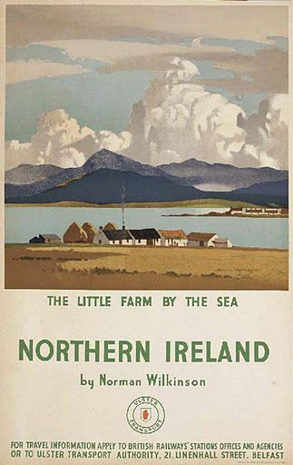 The pastoral serenity of a quaint little Irish village captured in a beautiful vintage travel poster.