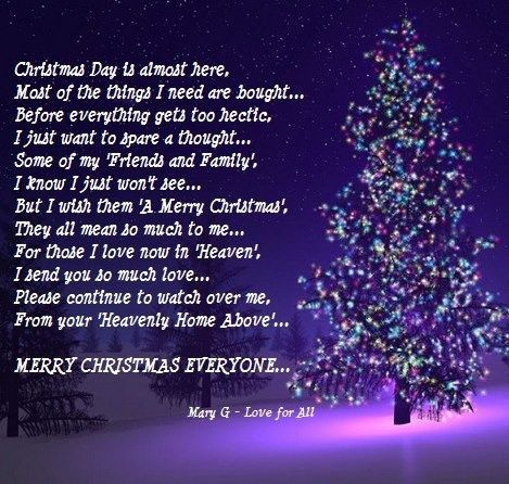 merry christmas family friends poems - Merry Christmas From Heaven Poem