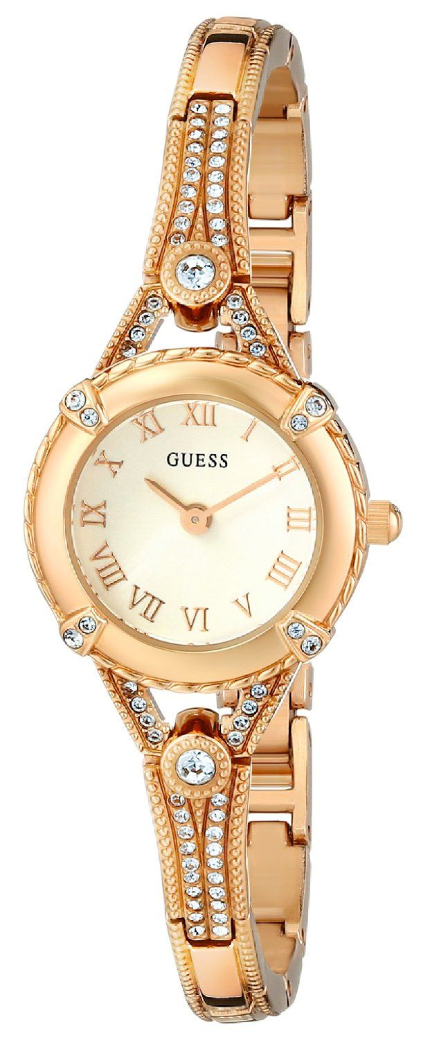 GUESS Women's U0135L2 Petite Vintage-Inspired Embellished Gold-Tone Watch -- See this great watch.