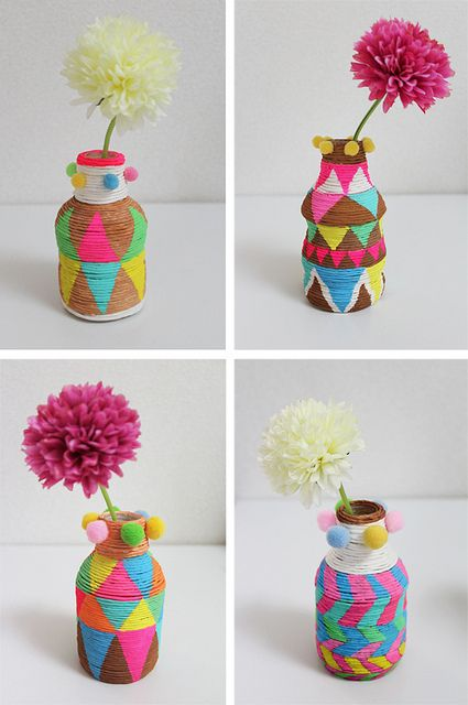 African basket inspired mini vases made with PET bottles and paper twines