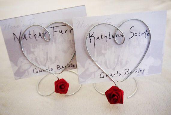 Filo singolo cuore rosso rosa portafoto o il titolare della carta posto per il matrimonio o la doccia, titolari di carte di nozze tabella no...