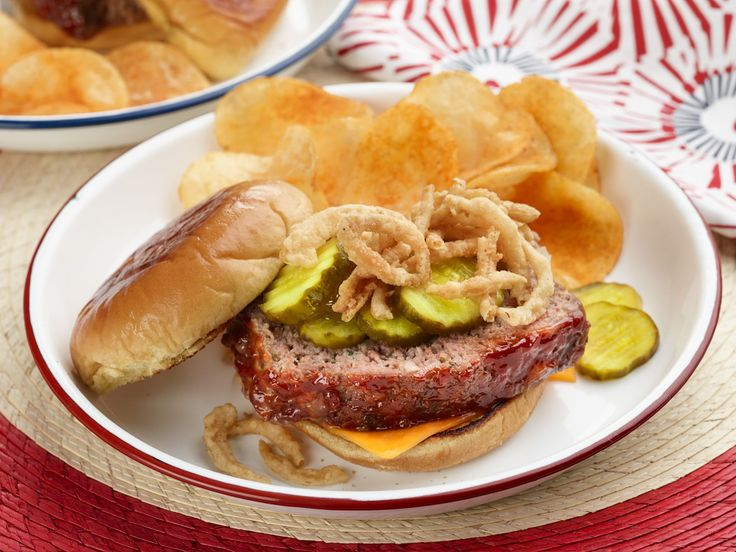All-American Down-Home Patriotic Meatloaf Sandwich : When making meatloaf, Jeff says the key to juicy texture is to use 1 egg for every pound of meat you have. Once cooked, slice it and serve on potato rolls with crispy onions plus bread-and-butter pickles — you can't go wrong.