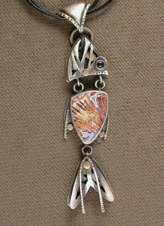 Sterling Silver, Gold, Petrified Wood, and Iolite Fish Pendant, one of a kind, Myska Jewerly
