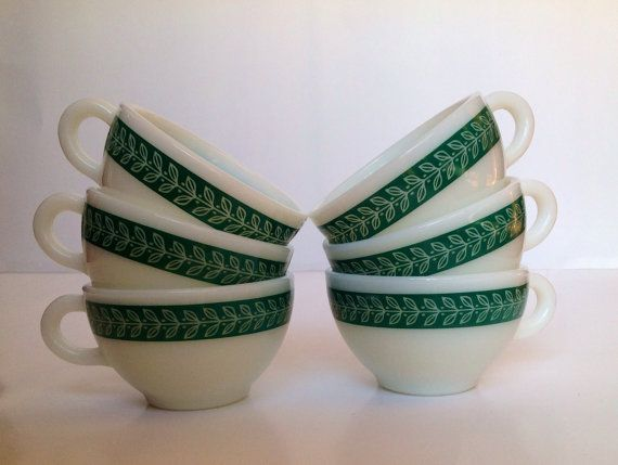 Pyrex Teal Green Autumn Band Cups by PyrexPeople on Etsy, $24.00