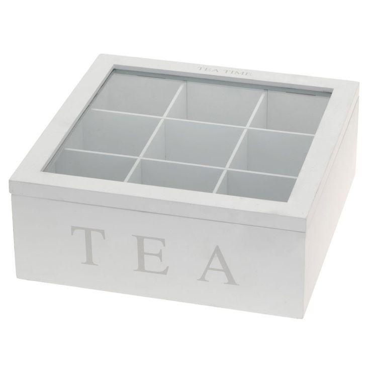Holz Teebox Teekiste mit 9 Fächern und Sichtfenster weiß: Amazon.de: Küche & Haushalt