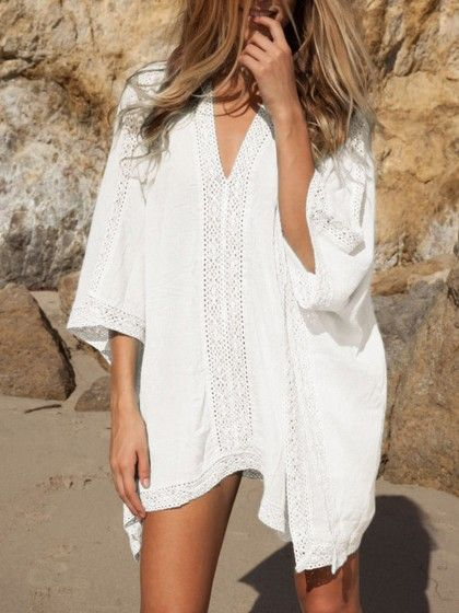 5af2edddcc0b9 White Oversize V-neck Poncho Beach Cover Up