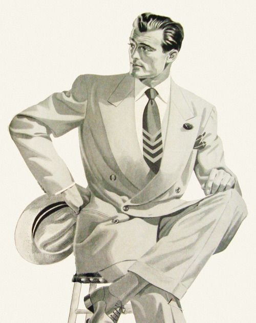 Coronado Suits - 1948. A gorgeous drawing. Artist?