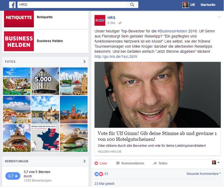 #HRS startet auch auf #Facebook die Wahl zum #BusinessHelden 2016_ Ulf Gimm Bewerber
