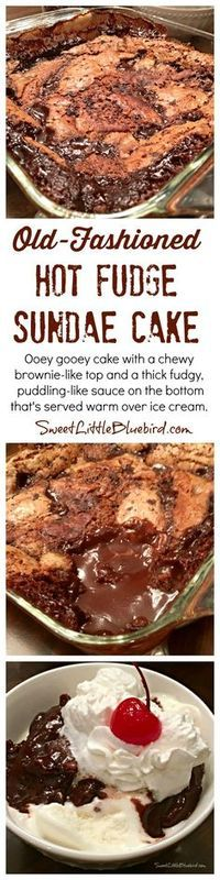 OLD-FASHIONED HOT FUDGE SUNDAE CAKE - Ooey gooey chocolate cake with a chewy brownie-like top and a thick fudgy, puddling-like sauce on the bottom that's served warm over ice cream. Down home yummy goodness that's so simple to make.   SweetLittleBluebird.com
