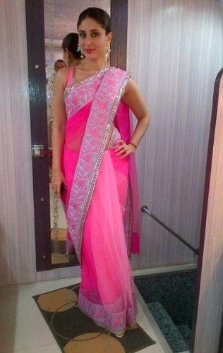 Kareena Kapoor in Manish Malhotra pink net sari (2)