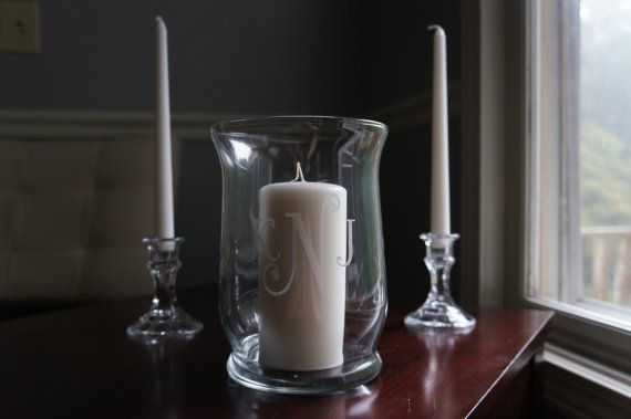 Unity Candle Holder and Taper Candle Holders - Wedding - Monogrammed- 3 Piece Set on Etsy, $45.00