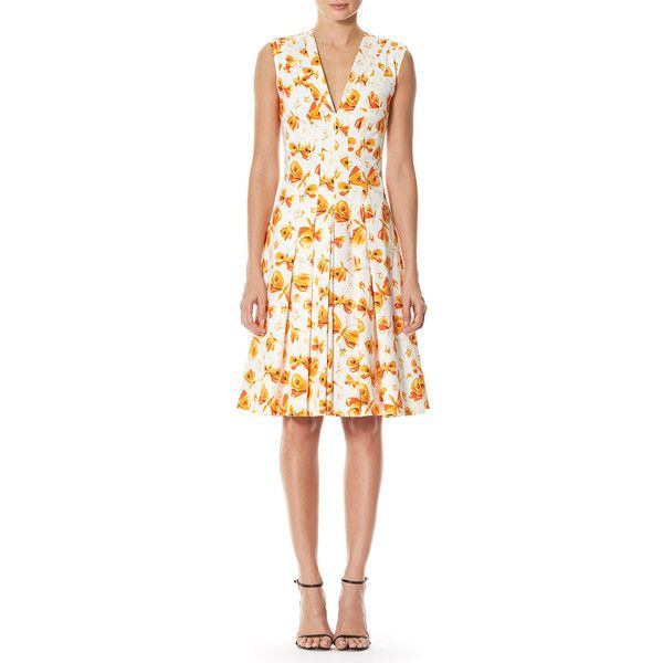 Carolina Herrera Butterfly-Print Pleated V-Neck Dress (32,070 MXN) ❤ liked on Polyvore featuring dresses, multi, carolina herrera dresses, low v neck dress, deep v neck dress, white day dress and butterfly dress