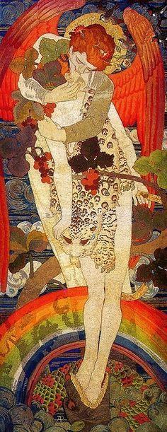 Damisela entre animales. | Gustav Klimt fue un pintor simbolista austríaco, y uno de los más conspicuos representantes del movimiento modernista de la secesión vienesa.