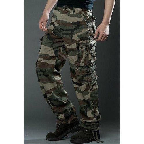 Zipper Fly Multi Pockets Slimming Straight Leg Drawstring Men's Camo Pants