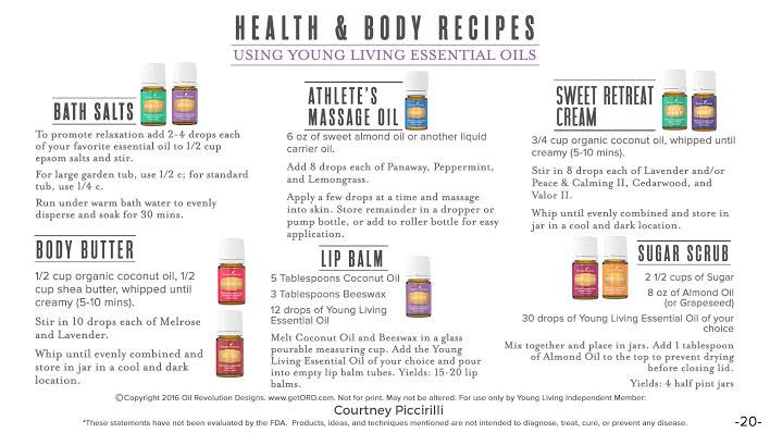 Health and Body Recipes using Young Living Essential Oils.