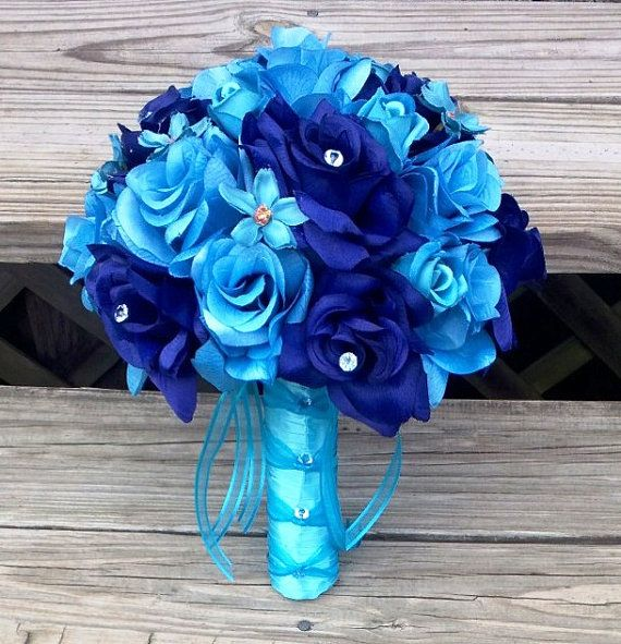 Blue Bouquet Blue Rose Bouquet Turquoise by SilkFlowersByJean, $75.00