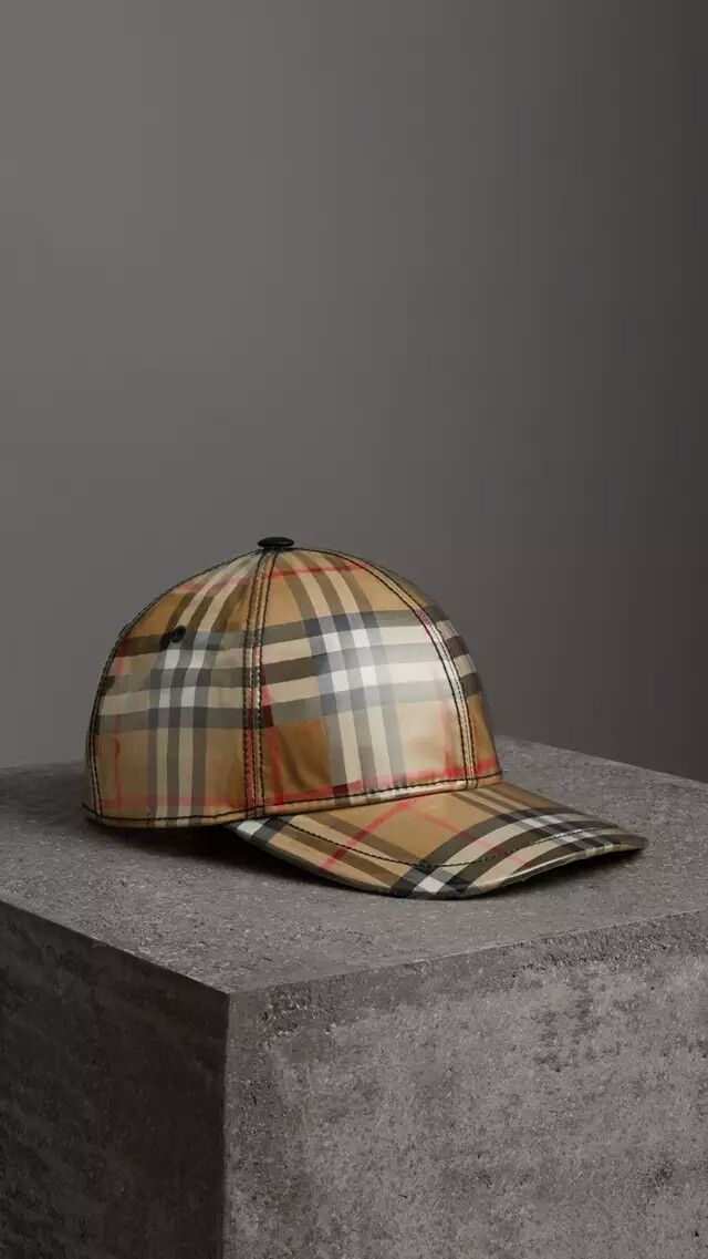 4a859a177bb BURBERRY Laminated Vintage Check Baseball Cap