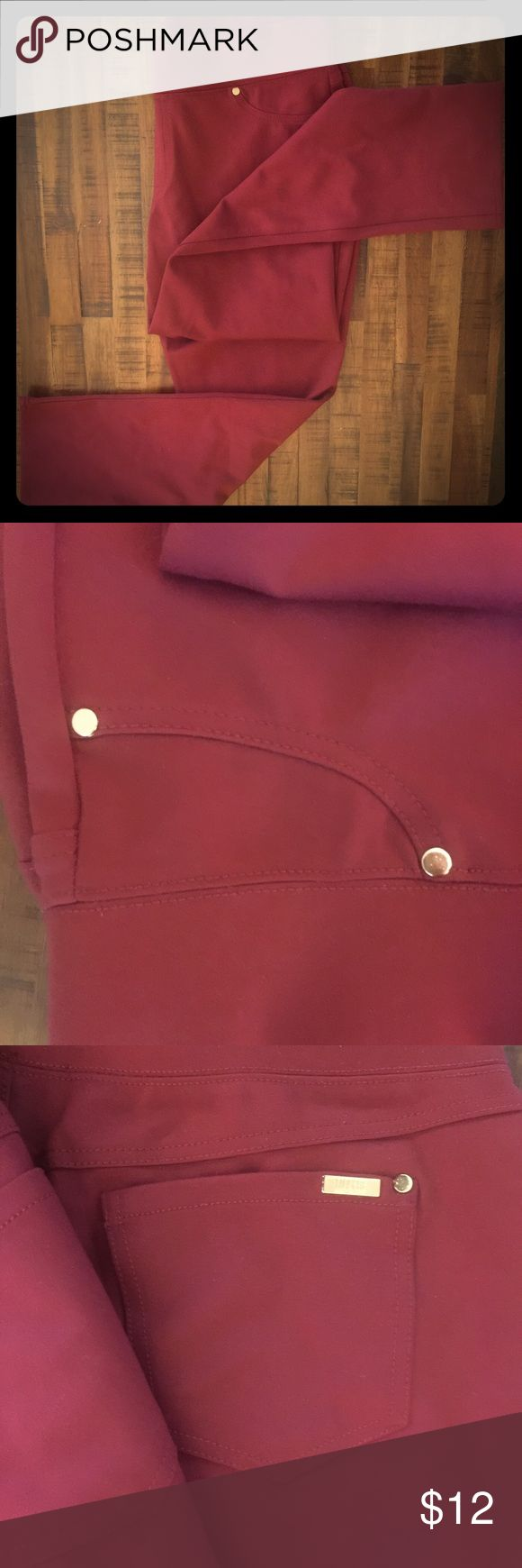 Cranberry Straight Leg Elastic Waist Pants These cranberry colored pants by Monroe and Main are super comfortable while still looking professional and stylish! Faux front pockets, actual back pockets, gold tone rivets, and a thick elastic waistband with no button or zipper. Monroe & Main Pants Straight Leg