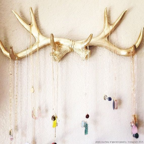 Faux Deer Antlers Rack in Gold - Deer Antler Decor Wall Hook & Jewelry Organizer Holder - Rustic Resin Decor by White Faux Taxidermy Hanging