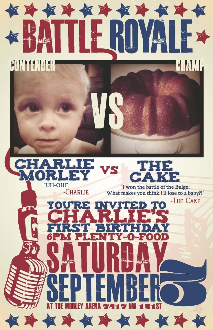 We went with a boxing theme for my boy's first birthday! Here's the poster I made, the invites were just a smaller version of this. What do you think?