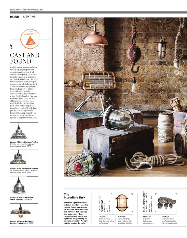 Warehouse Home Issue Three | Industrial interior | Warehouse interior | Industrial lighting | Nautical lighting | Vintage lighting | Ship lights | Industrial pendant lights | Vintage rope | Warehouse lighting | Warehouse style