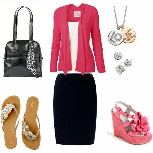 Black Skirt with Pink Cardigan Pink wedges or simple flats; thirty-one leather bag