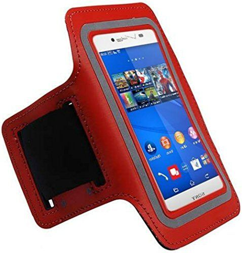 """myLife Crimson Red + Antique Black {Rain Resistant Velcro Secure Running Armband} Dual-Fit with Key Slot Jogging Arm Strap Holder for Sony Xperia Z2 and Z3 """"All Ports Accessible"""" myLife Brand Products http://www.amazon.com/dp/B00UM92L0G/ref=cm_sw_r_pi_dp_qecjvb0DH1PZE"""