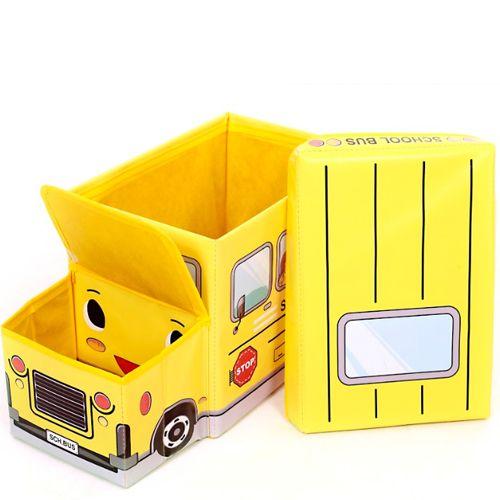 Красивый складной пуф для вещей и игрушек Школьный автобус желтый