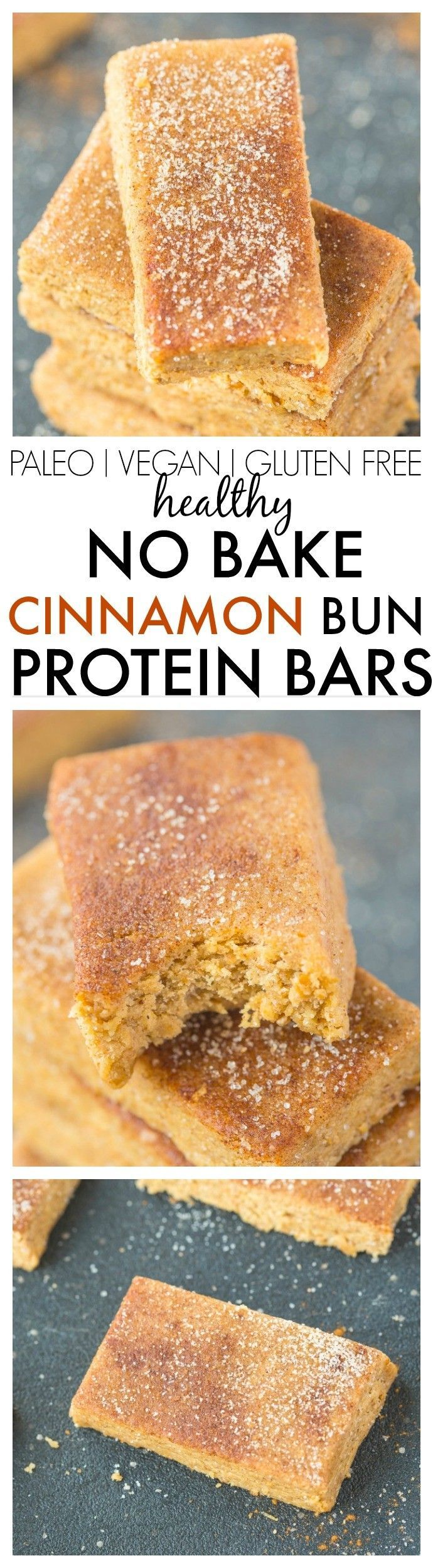 Healthy No Bake Cinnamon Bun Protein Bars-Just 10 minutes and 1 bowl to whip these up- Soft, chewy and no refrigeration needed- They taste like dessert! {vegan, gluten free, sugar free + paleo option!}- http://thebigmansworld.com