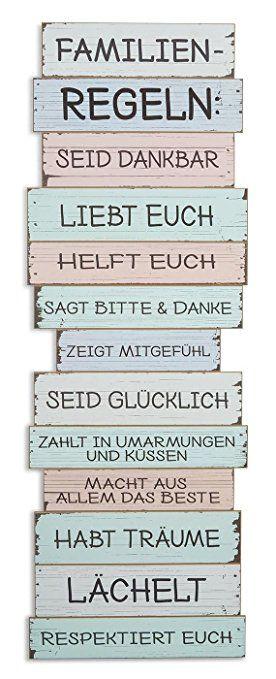 XXL Wandschild B x H x T 40x116x2,5cm Holz Familienregeln Familie