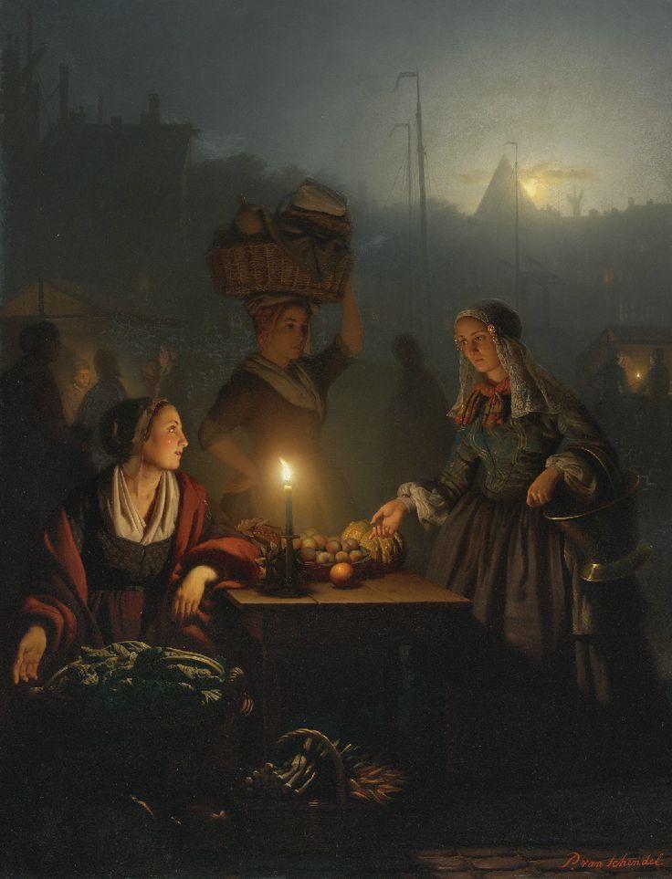 Petrus van Schendel : Buying Fruit and Vegetables at the Night Market 1863: Buying Fruit, Vans, Market 1863, Art, Night Market, Fruits And Vegetables, Painting
