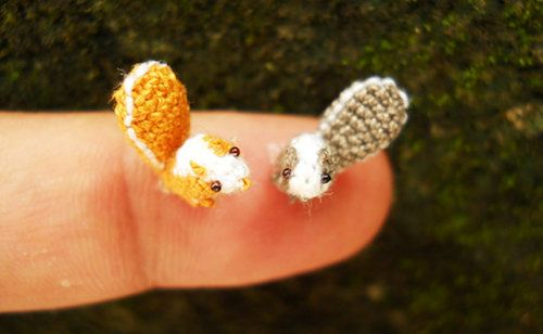 """When I saw these tiny crocheted animals on Etsy, I immediately thought, I need to call Kate. We share a love of teeny things, and I think one day we should get a timeshare cabin to display our miniature objects and trade off taking """"cute overload"""" vacations. I know that sounds insane, but for those of you who love itty-bitty objects, how fun would it be to surround yourself with them for a few days straight?"""