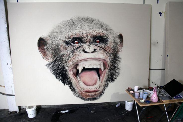 L'artiste québécois Marc Séguin dans son atelier de Brooklyn. Il met la touche finale à sa prochaine exposition new-yorkaise qui se déroulera le 15 janvier 2015. L'exposition intitulée