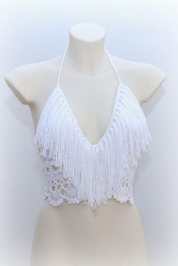 Top con flecos crochet blanco, top blanco hermoso, crochet top con flecos, hippie blanco, tanque de verano, ropa de verano, festival tapa.
