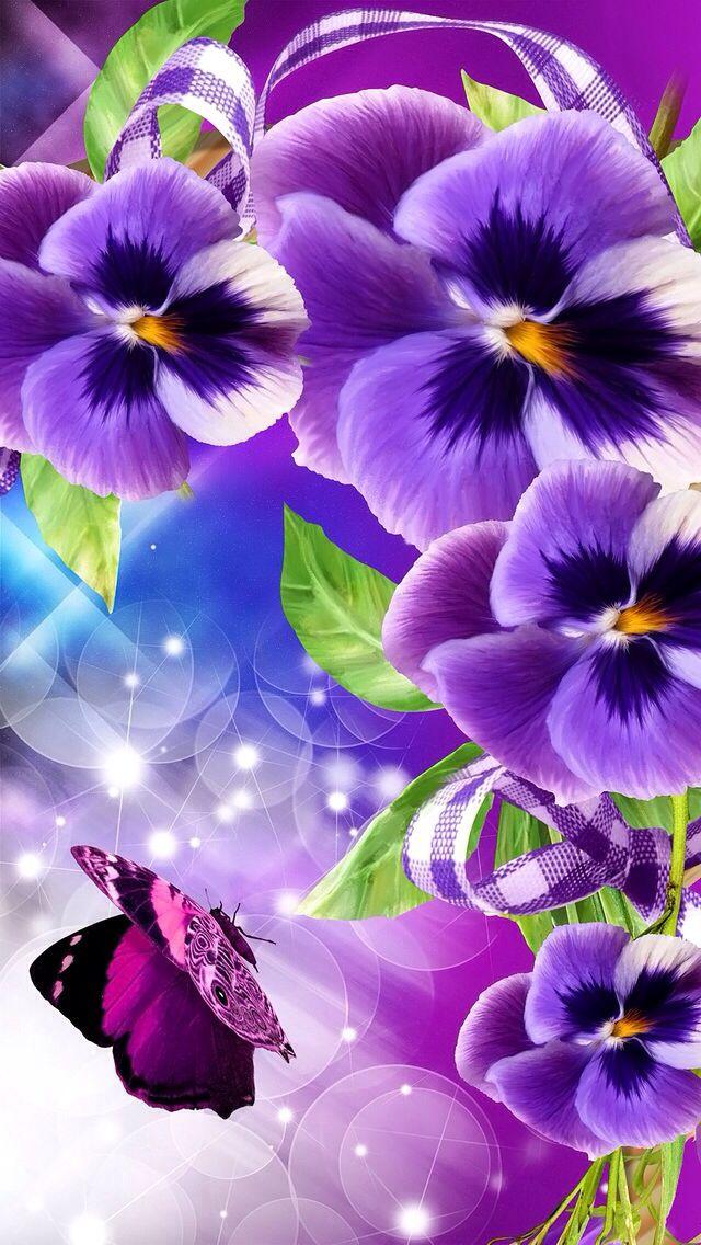 Purple flowers   Wallpapers   Pinterest   Pansies, Purple ...
