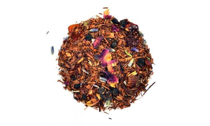 Provence: Provence is an extremely lovey, fruity loose leaf tea.  The aroma is superb!  It's fermentation turns the rooibos leaves from green to deep red and gives it its slightly sweet note.  Ingredients: Rooibos, rosehip, elderberry pieces, lavender & rose petals and natural flavours.