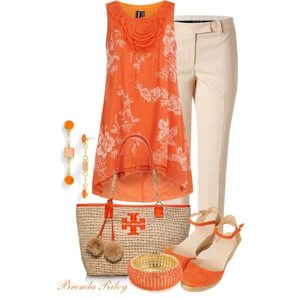 A fashion look from April 2013 featuring bib shirt, short pants and orange wedge sandals. Browse and shop related looks.