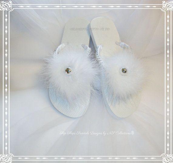 Bride Sandals Bride Flip flops Summer Flip Flops Fur Flip