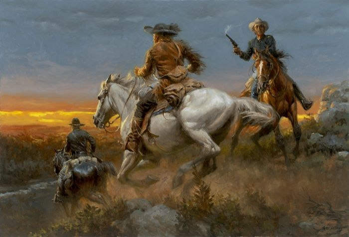The Outriders - Western Oil Painting by Andy Thomas
