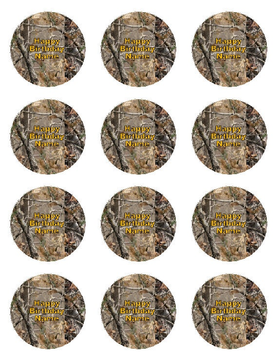 """Real Tree Camo Set of 12 Edible Cupcake Toppers 2"""" Round - FREE SHIPPING. $10.00, via Etsy."""