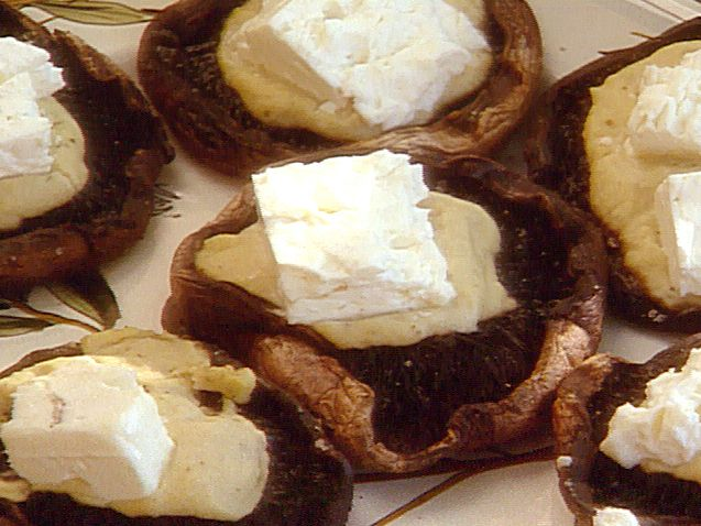 Grilled Portobello Mushrooms with Hummus and Feta Cheese recipe from Michael Chiarello via Food Network