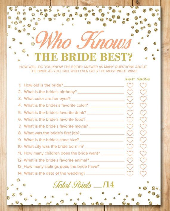 Who Knows The Bride Best How Well Do You Know The Bride Game Bridal Quiz Gold Confetti