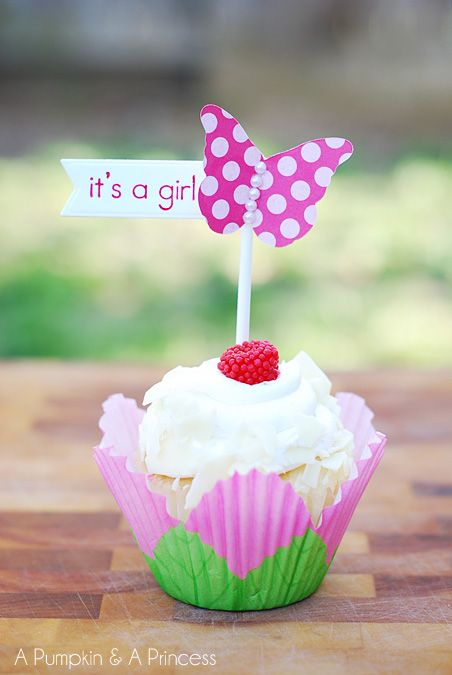 Baby Shower Butterfly Cupcake Topper - cute idea for someone having a girl!