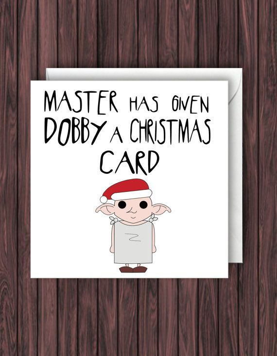 So hübsch! Karte für einen Harry Potter-Fan! Dobby-Weihnachtskarte. Harry Potter Weihnachtskarten. Geek-leere Karte. Weihnachten