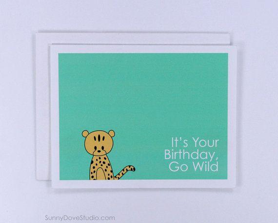 Cute Cheetah Birthday Card Handmade Greeting by SunnyDoveStudio