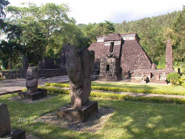 temples Sukuh-shaped pyramid statue  in Central Java