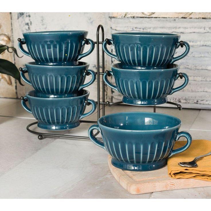 6 Big Stoneware Fluted 32 Oz Soup Bowls Set Stand