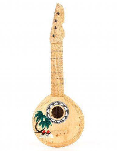 Ukulele noce di cocco: si tratta di un'imitazione di ukulele, grande circa 40 cm che potrai utilizzare come decorazione per la tua festa hawaiana o per accessoriare il tuo travestimento da ballerina di Hula.