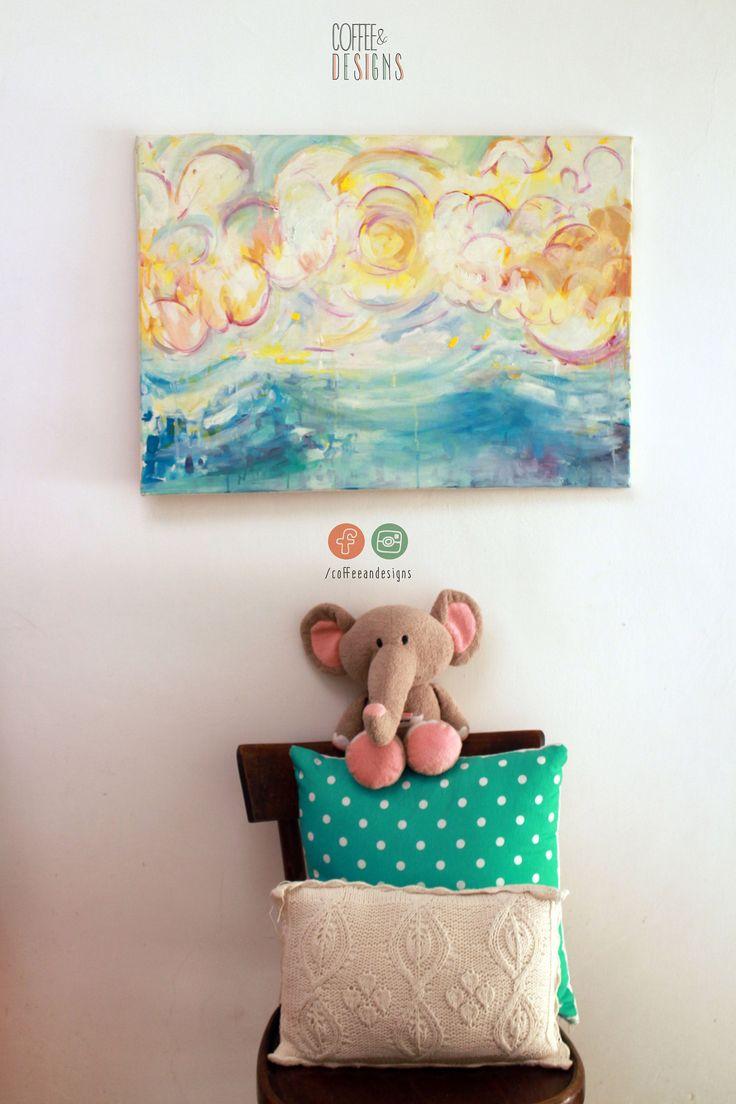 Serenità   Acrilico su tela   Fatto a mano   Dipinto   Originale   Quadro   Ideale per cameretta   Bambini   Arte   Colorato di coffeeandesigns su Etsy