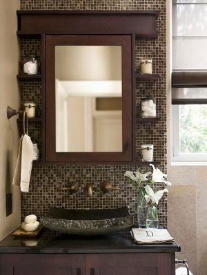 -FAMILY BATHROOM- I love the shelving and blackspash..although I think Id go with white and pearl colored tile around the mirror, with white shelving...in-layed sink though